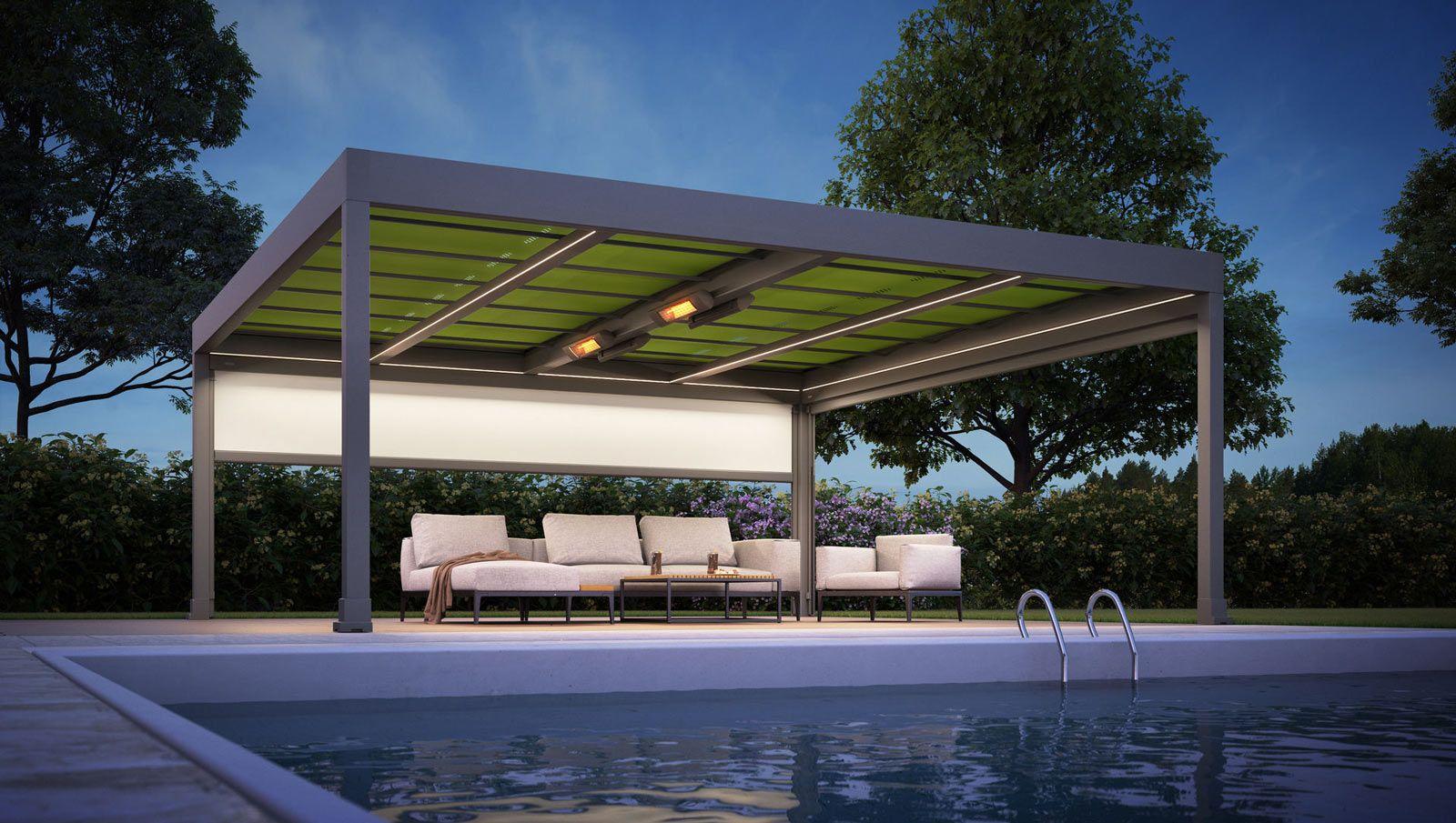Die Markise ist bei dem neuen Terrassendach im oberen Rahmen des ...