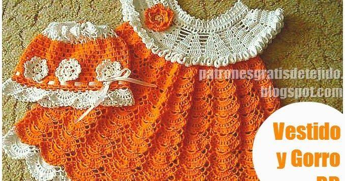 patrones de vestido para bebe tejido en ganchillo en dos tonos y ...