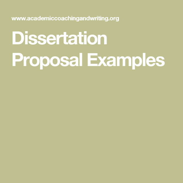 Dissertation Proposal Examples Dissertations Thesis