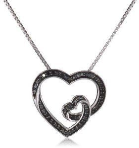 Blackdiamondgem sterling silver 15cttw black diamond heart blackdiamondgem sterling silver 15cttw black diamond heart pendant necklace 18 mozeypictures Gallery