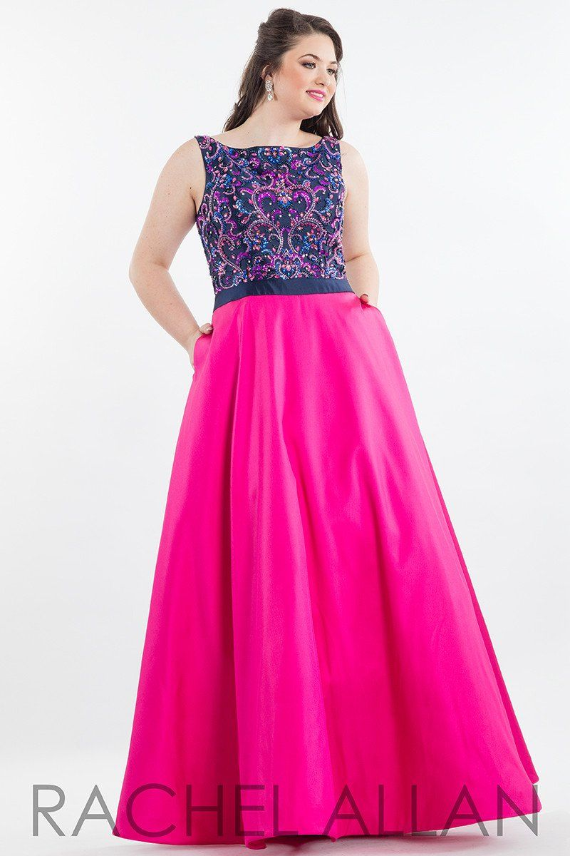 Rachel Allan (PLUS) 7835 Navy Fuchsia Bateau neck Ball Gown Prom ...