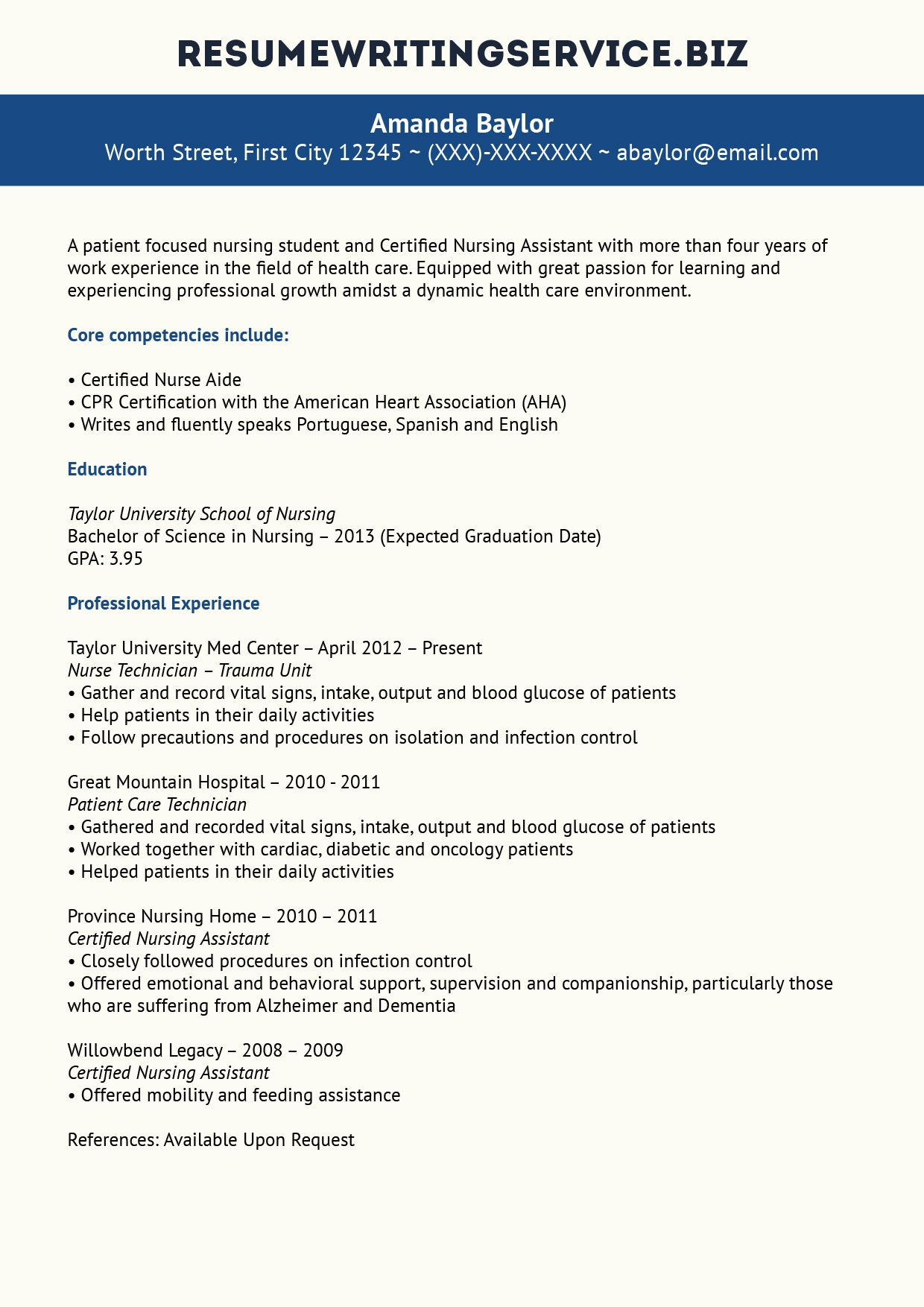 Sample Resume For Nursing Assistant Nursing Student Resume Sample  Studentcareer  Pinterest  Student .