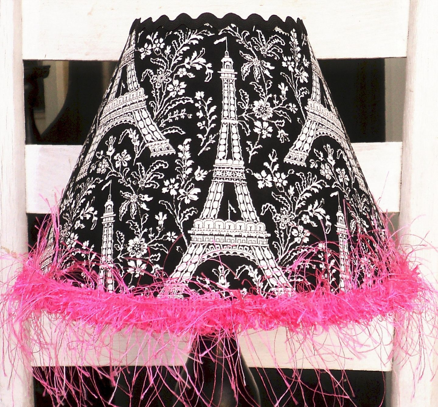 Items Similar To Child Lamp Shade In Michael Miller Eiffel Tower Black And  White With Hot Pink.Paris Chic On Etsy