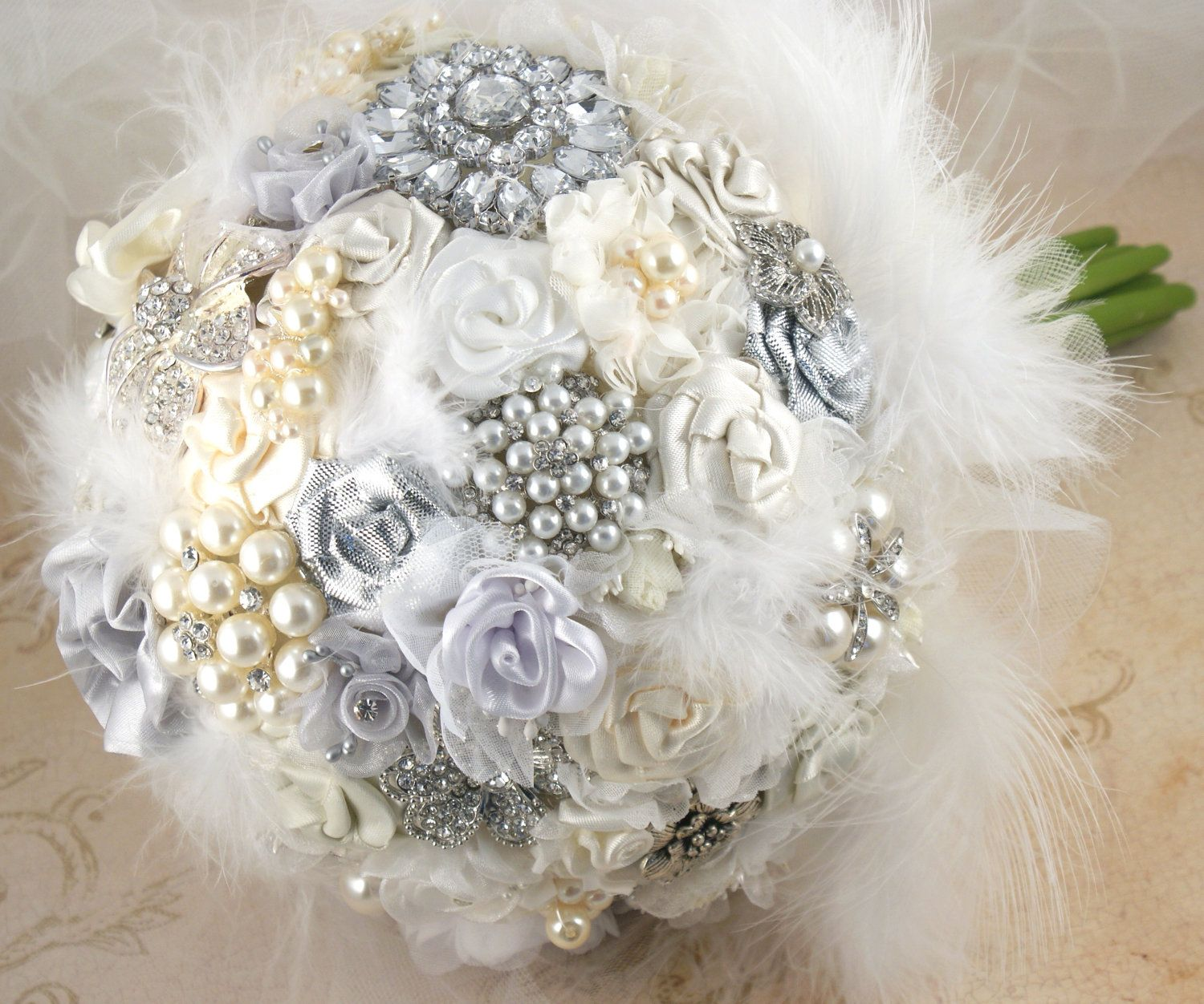 Brooch Bouquet Bridal Wedding Bouquet Jeweled Bouquet In White