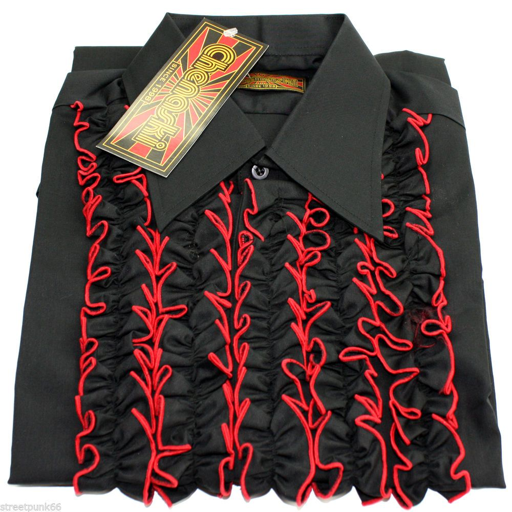 Chenaski men retro ruche black red ruffle tuxedo shirt tux for Red ruffled tuxedo shirt