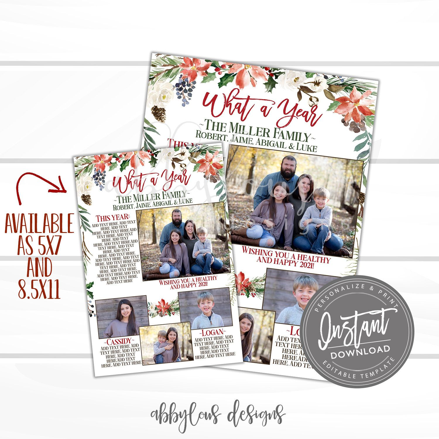 Editable Year In Review Printable Christmas Card Insert Red Etsy Printable Christmas Cards Floral Holiday Cards Holiday Cards
