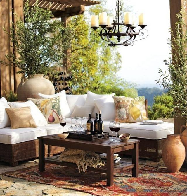 maritime terrasse-möbel outdoor sofa-set kronleuchter, Garten Ideen