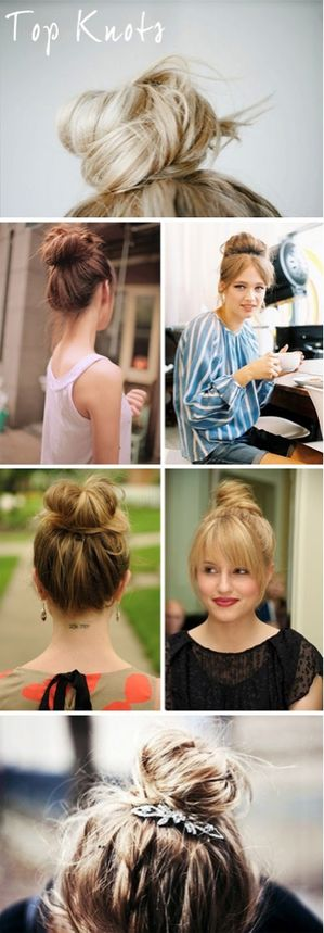 Top knots and other trendy hair styles.