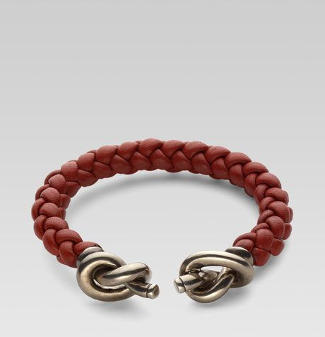 6e6e75864 Gucci - Metallic Woven Leather Bracelet with Knot Details for Men - Lyst