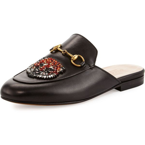 f806a4176 Gucci Princetown Sword & Tiger Horsebit Mule ($995) ❤ liked on Polyvore  featuring shoes, black, slip-on shoes, black flat mules, slip on mule  shoes, ...