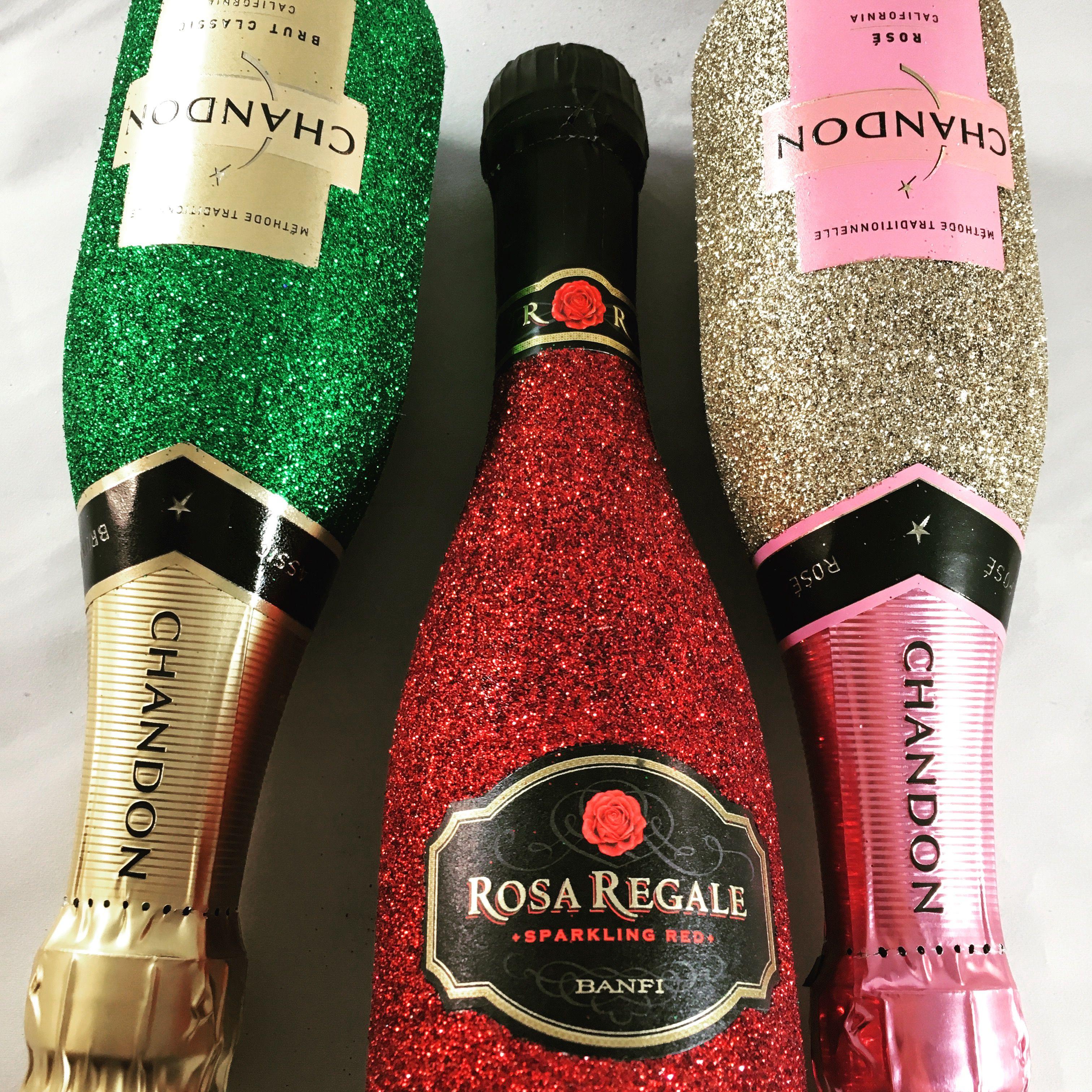 Mini Champagne Bottles L To R Chandon Brut In Green Glitter Rosa Regale In Crimson Red Glitter And Cha Glitter Wine Bottles Glitter Bottle Glitter Bottle Diy