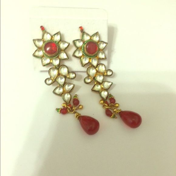 Long Indian earrings with red & white rhinestones Very traditional and versatile design in green, red and white. Can we worn with a saree to an Indian wedding or with any Indian dress to a Bollywood party  Jewelry Earrings