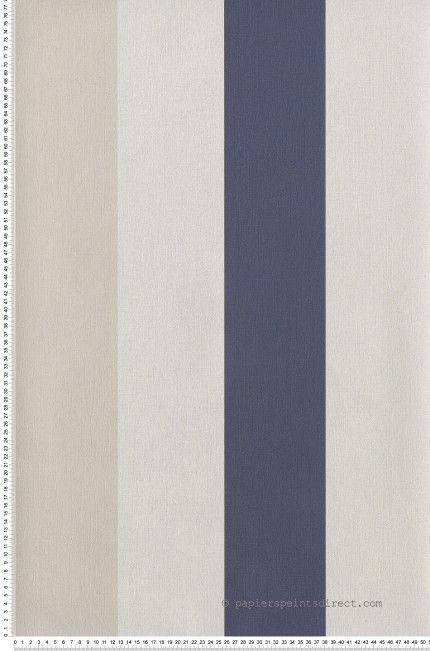 Rayure Large Bleu marine et beige clair - papier peint Frégate Salons