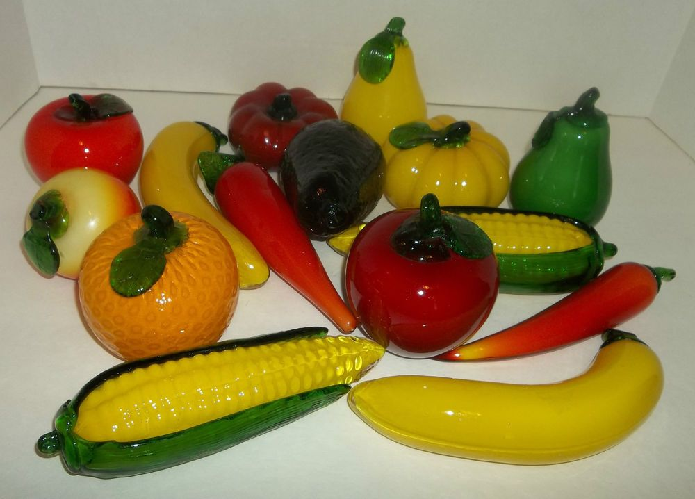 Vintage Murano Style Art Glass Fruit And Vegetable Figurines 15 Pieces Made 60s Glass Art Glass Art