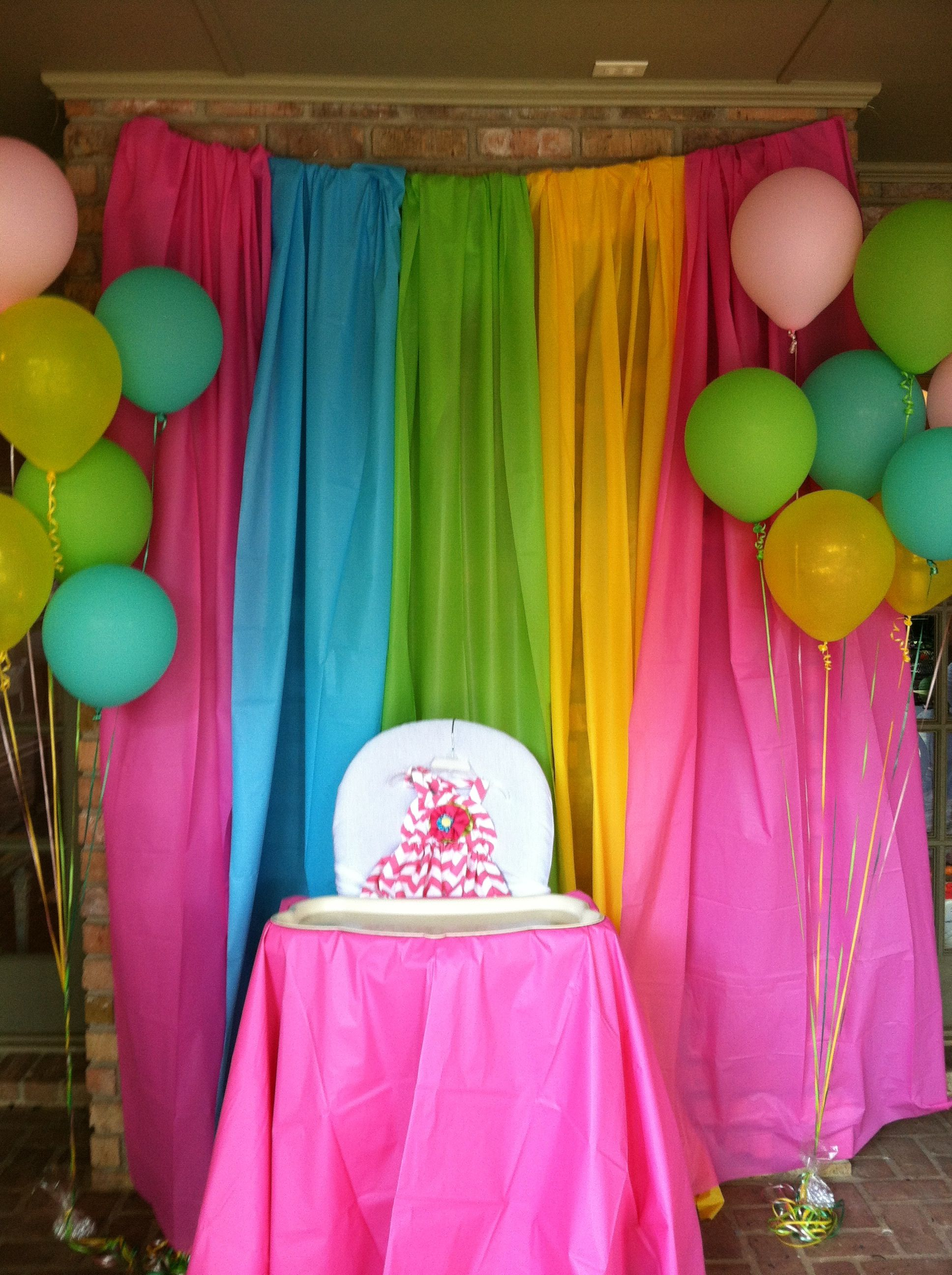Use A Circle Plastic Table Cloth As A High Chair Cover! Just Snap Between  The