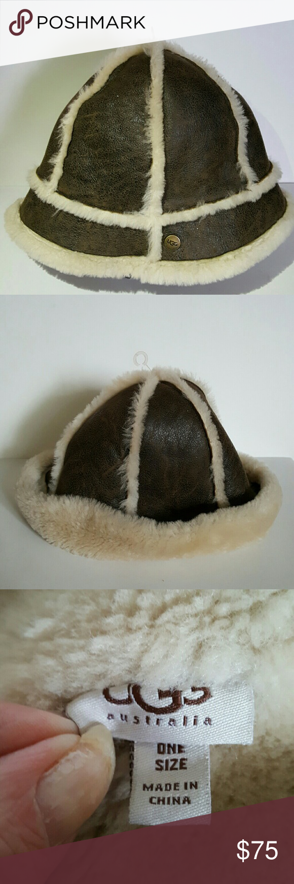 UGG HAT Classic UGG shearling sheepskin bucket hat with soft shearling interior and spill out seams. Very comfortable warm hat in great condition.  Ugg emblem on front. Wear rolled up or straight down. Like new condition. UGG Accessories Hats