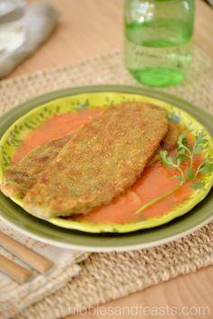 Nopales Vestidos   Breaded Cactus Paddles on garlic tomato sauce with dried Mexican oregano. #USBTradiciones #ad