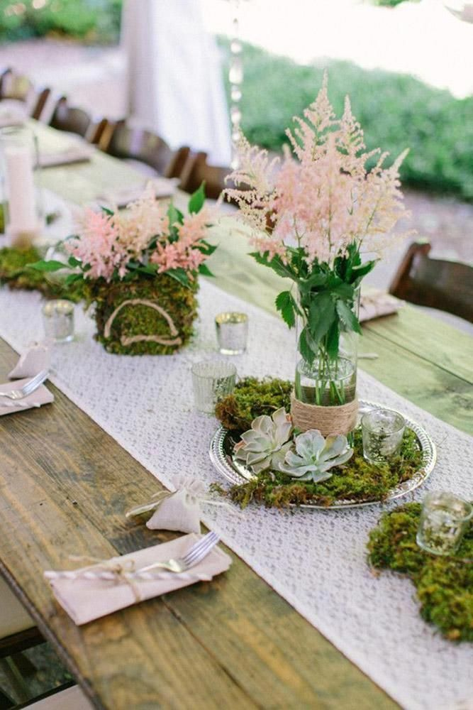 Photo of rustic backyard wedding wedding table with lace moss and succulents the enchante …