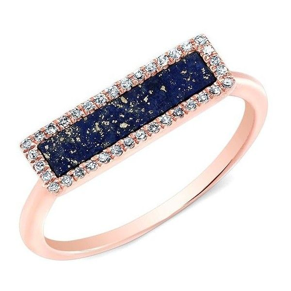 Anne Sisteron 14KT Rose Gold Lapis Lazuli Diamond Bar Ring 525
