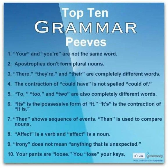 HA!!!! all of those make me nuts too...but I have to admit to the fact that #6 is one that I can not remember to save my life! LOL