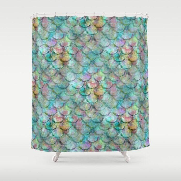 Mermaid Shower Curtain, 71x74, extra long 71x94 | Curtain sizes ...