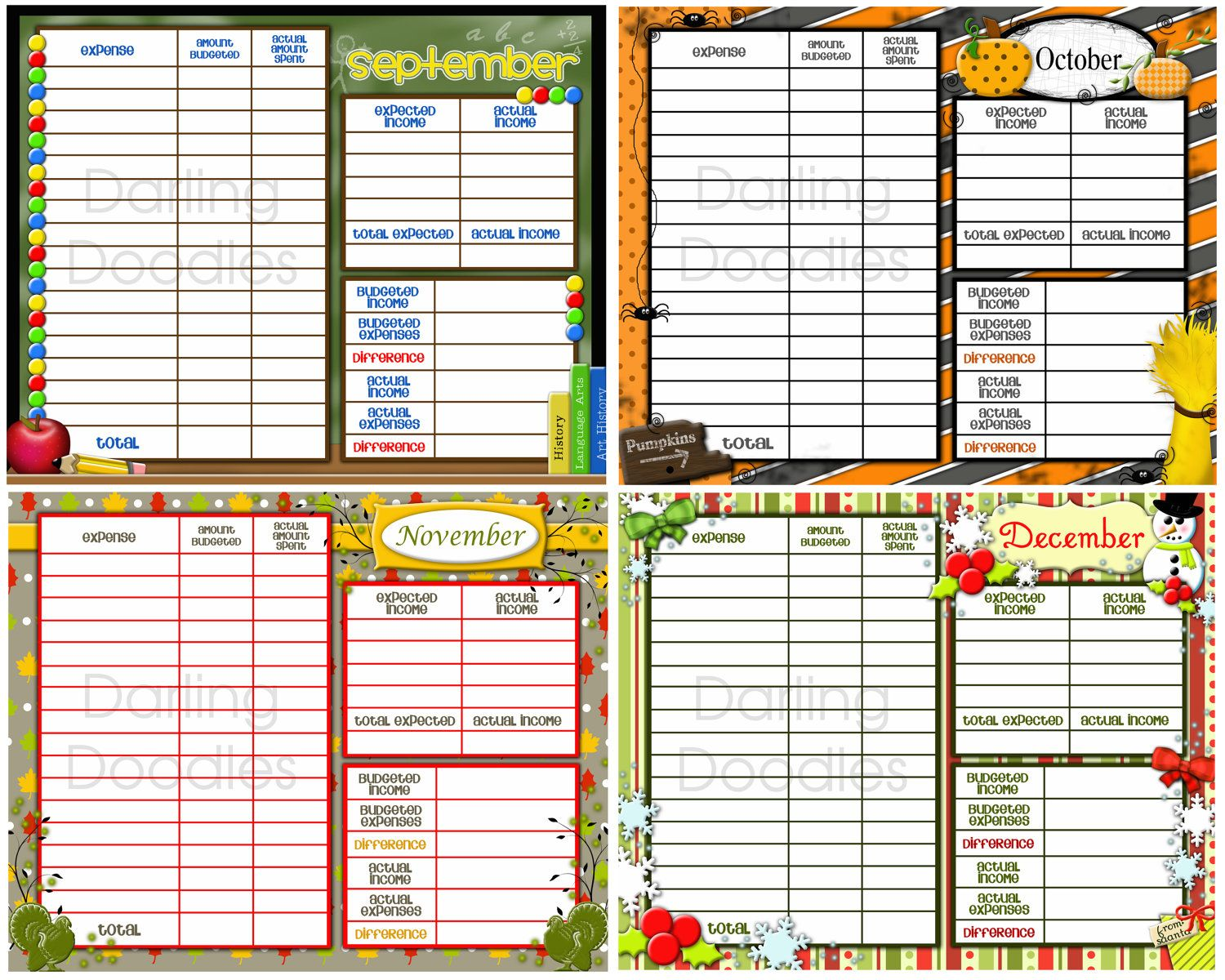 Printable Budget Worksheets Set Of 12