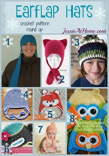 Earflap Hats free crochet pattern round up by Jessie At Home ...