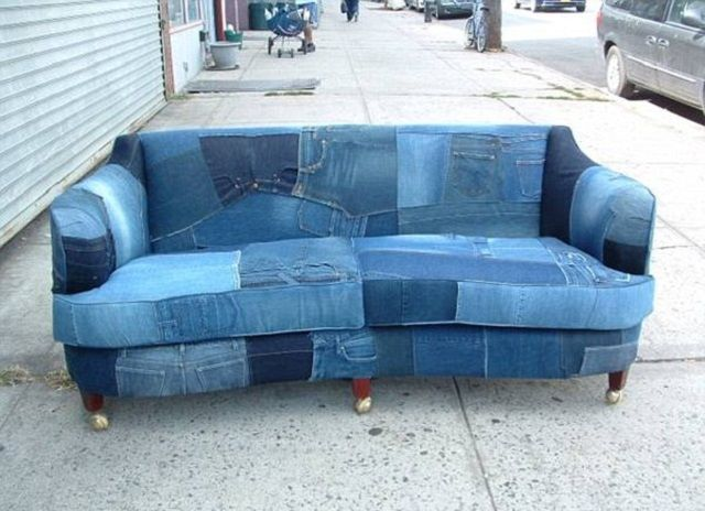 Ein Sofa Aus Jeans Diy Dekoration Denim Couch Recyceltes Denim Schonbezuge