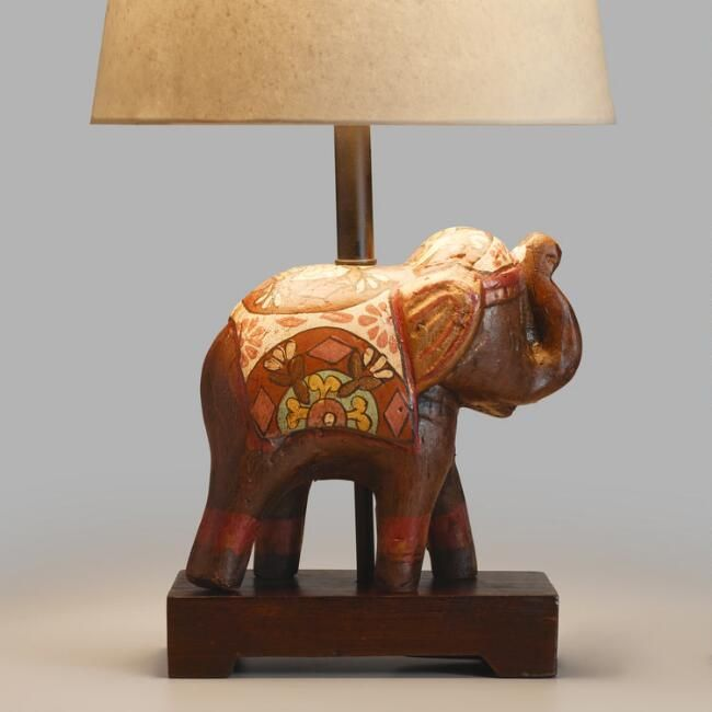 Indian Elephant Accent Lamp Base V1 Elephant Lamp Elephant Decor Lamp