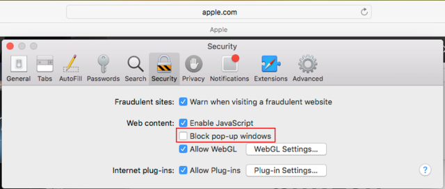 First, click Pop-ups on the left side Features list. Then, click the option  to Allow all sites to show pop-ups.