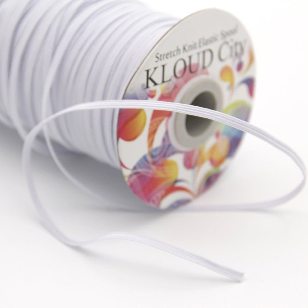 Kloud City White 120 Yards Length 1 8 Width Elastic Cord Elastic Band Elastic Rope Bungee Black Heavy Stretch Knit El Elastic Rope Elastic For Sewing Elastic