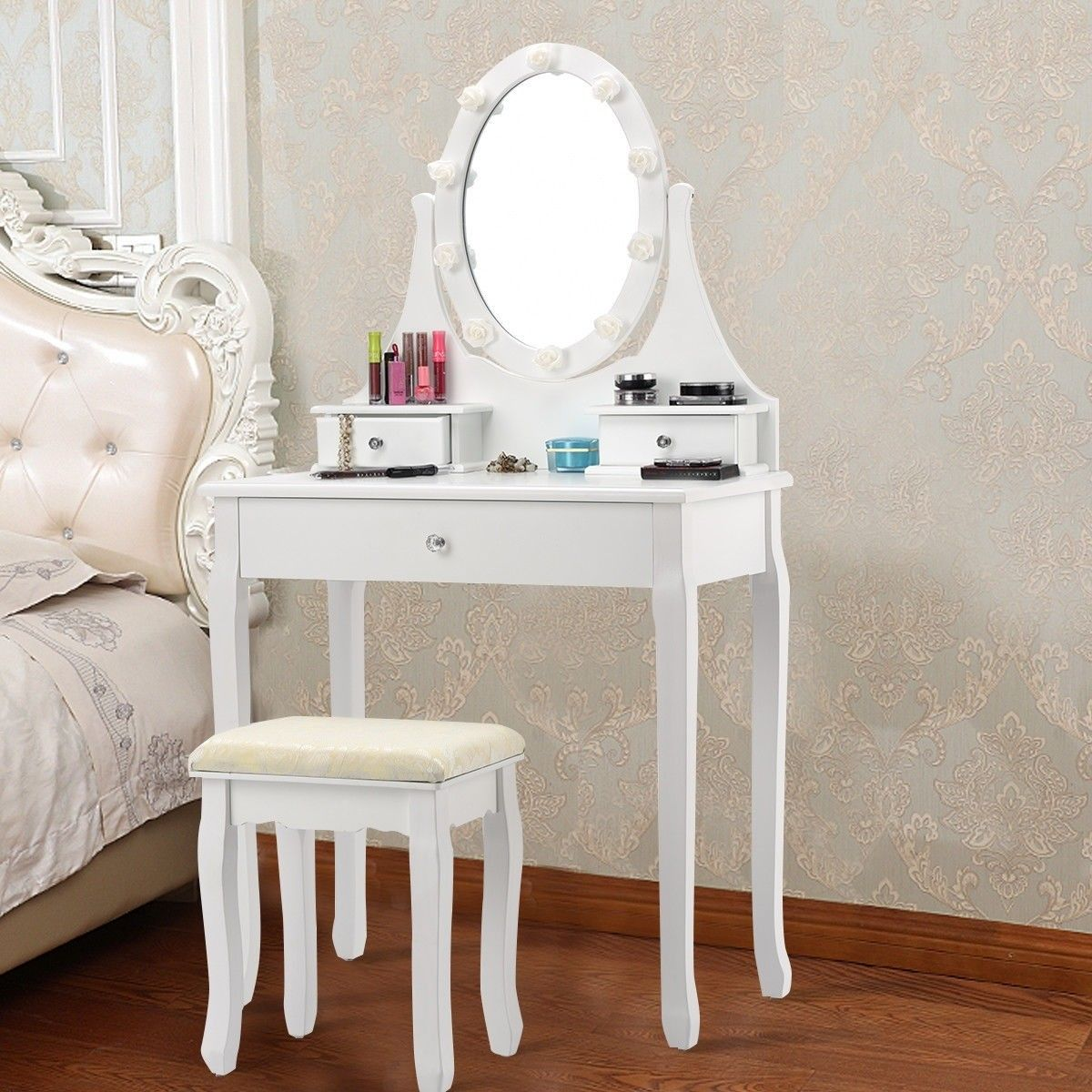 3 Drawers Lighted Mirror Vanity Dressing Table Stool Set Makeup Dressing Table Drawer Lights Vanity Set With Mirror