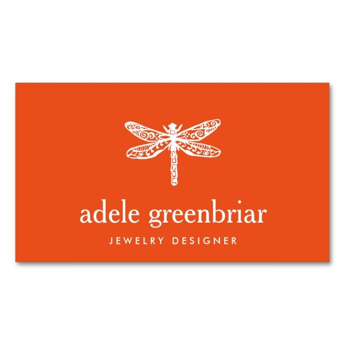 Nature jewelry designer dragonfly logo orange double sided standard nature jewelry designer dragonfly logo orange double sided standard business cards pack of make your own business card with this great design reheart