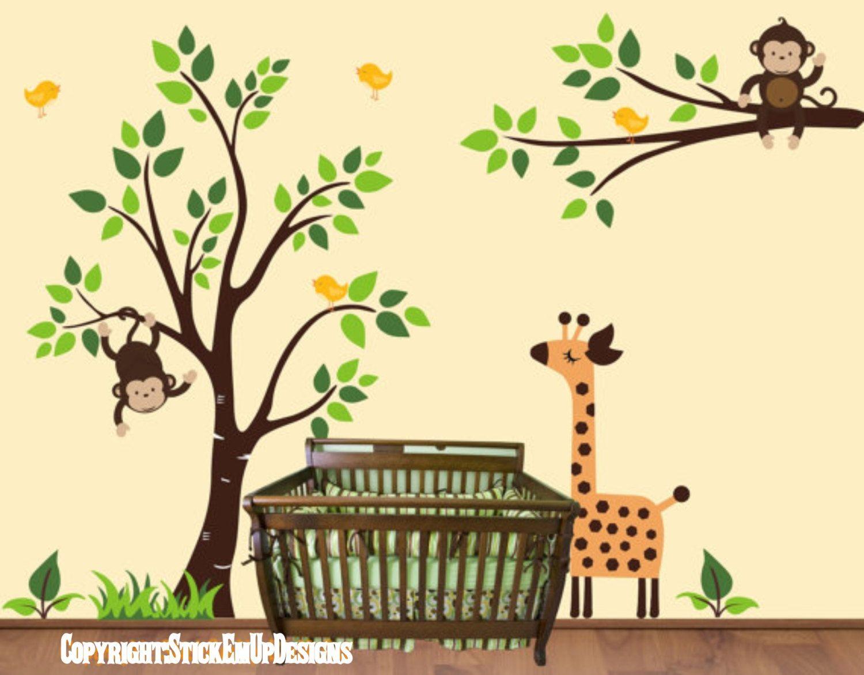 Monkey Tree Decal, - 107 -, Branch with Giraffe and birds Nursery ...