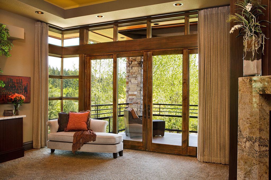 Sliding French Doors With Clerestory Windows Above Home Interiors