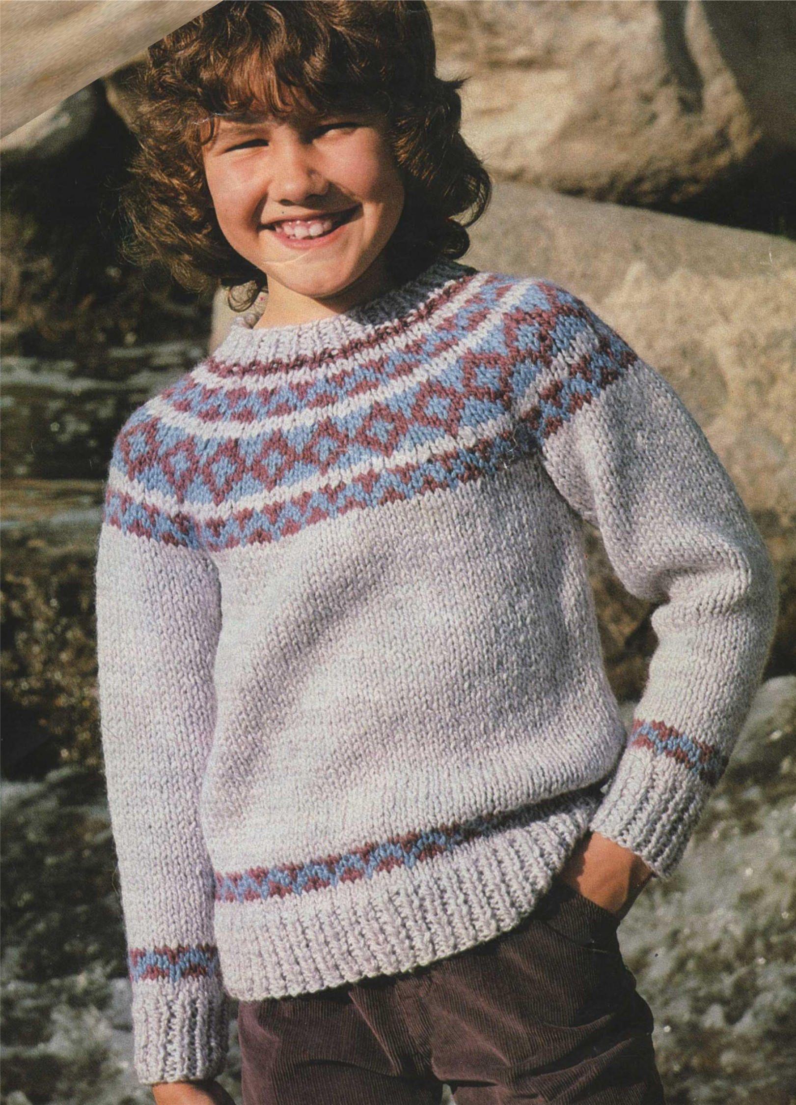 Childrens Fair Isle Yoke Sweater PDF Knitting Pattern : Boys or ...