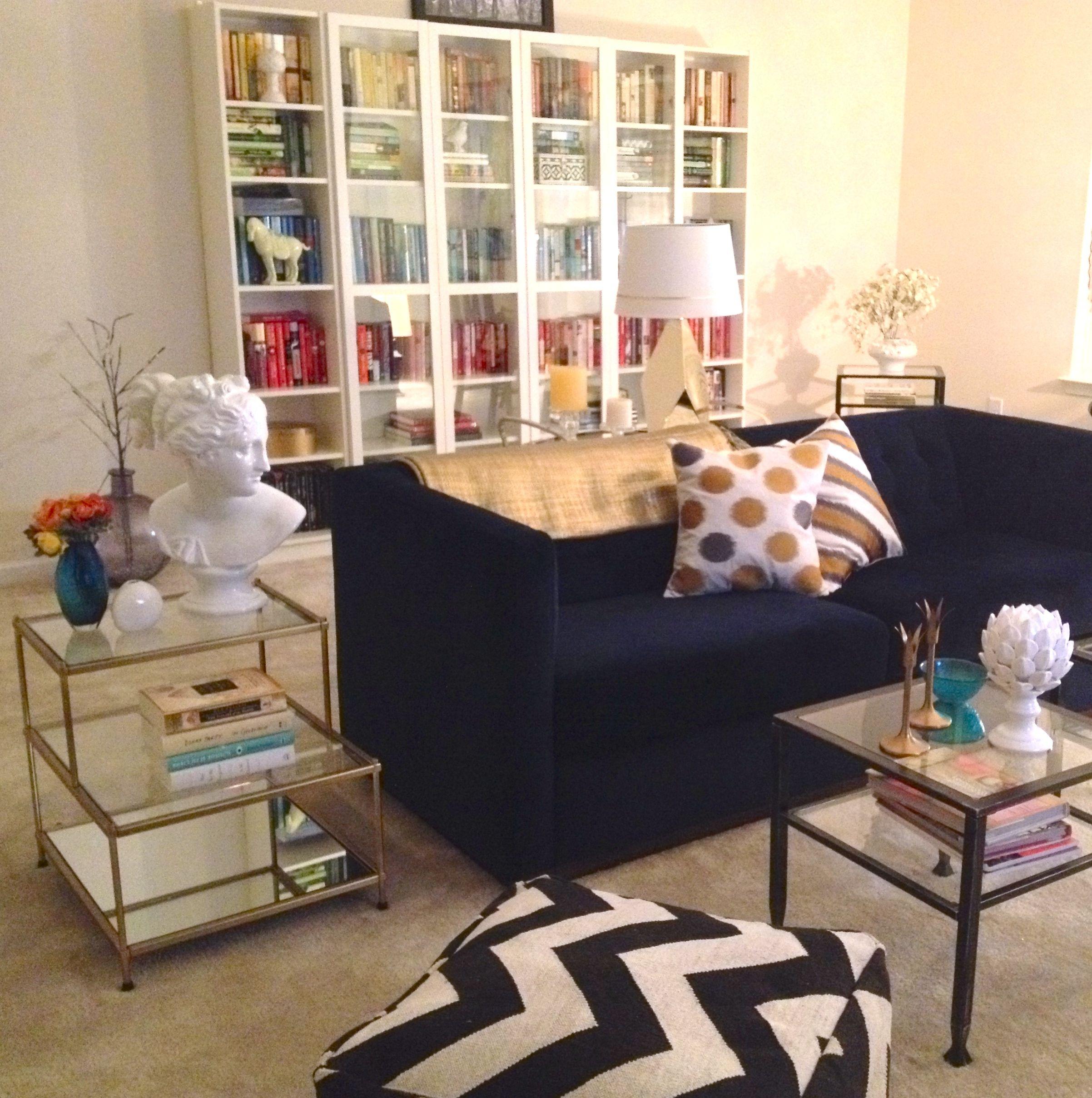 My Living Room WestElm Blue Velvet Sofa Chevron Pouf Ikea Shelving