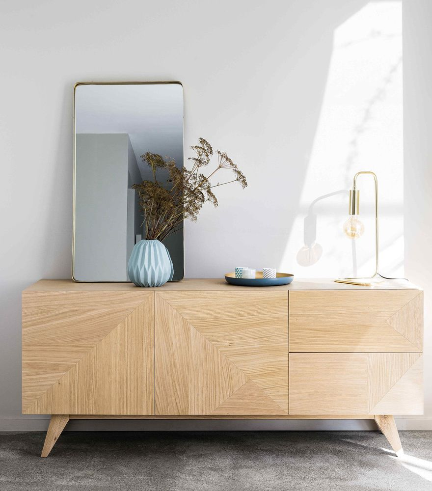 Scandi Style Hallway With The Origami Sideboard Maisons Du Monde Sideboard Decor Furniture Sideboard Scandinavian