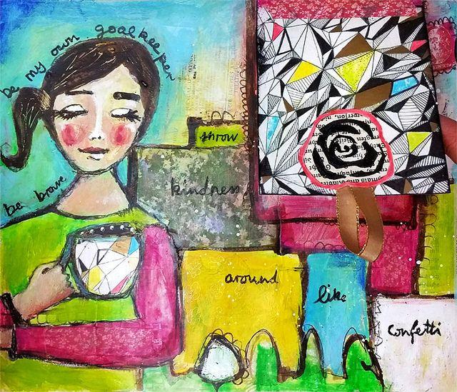 "AJP57 ""Throw Kindness Around Like Confetti""  - Art Journaling by Piarom"