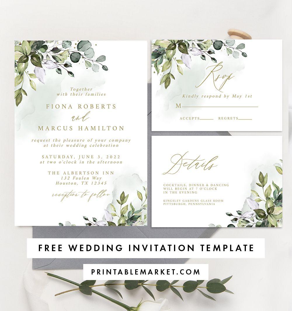 Free Editable Wedding Invitation Suite Invite Rsvp And Details C Free Printable Wedding Invitations Free Wedding Invitation Templates Free Wedding Templates