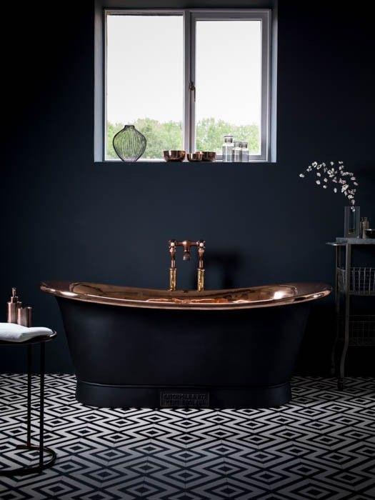 Black And Copper Bathroom Inspiration Via