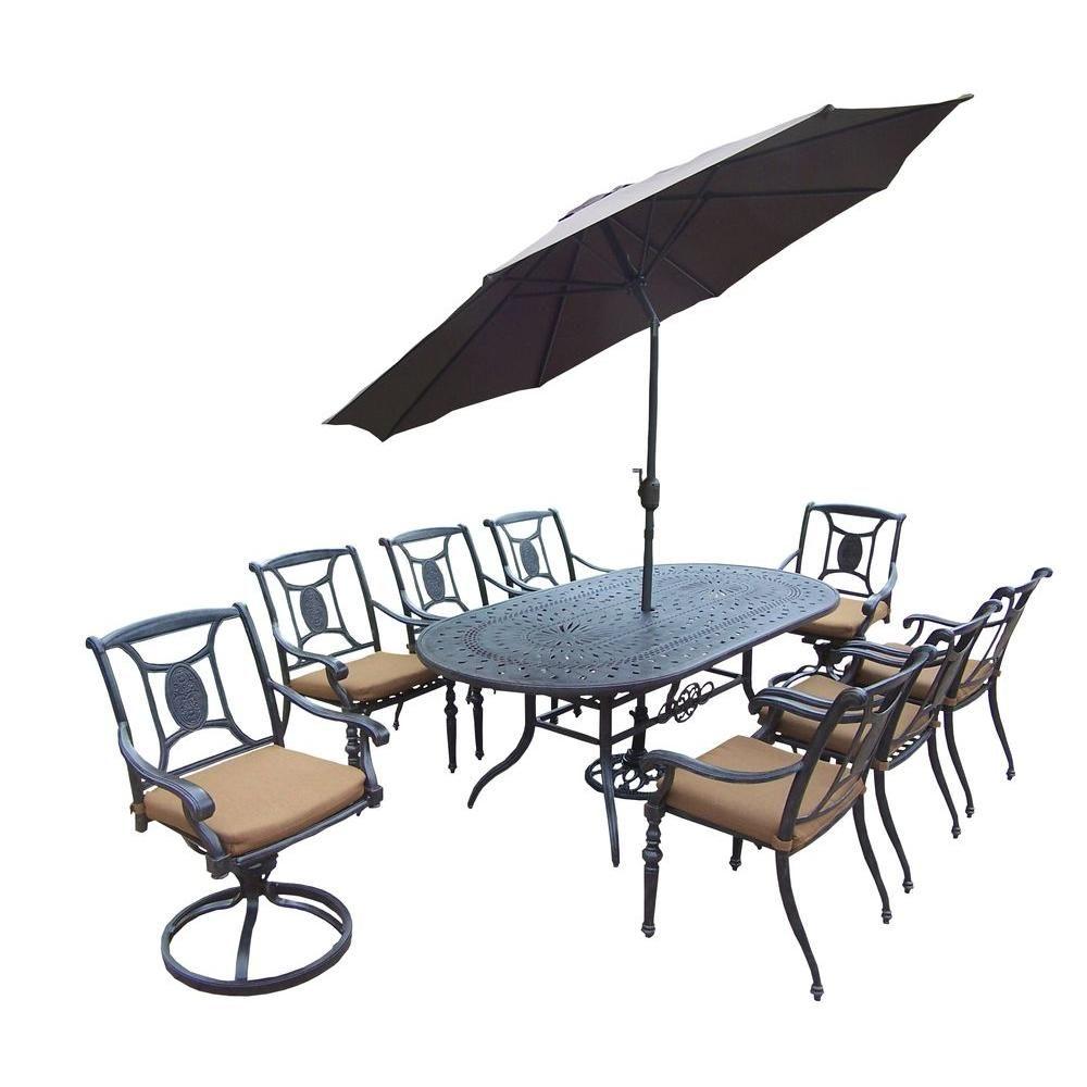Belmont 9 Piece Oval Aluminum Patio Dining Set With Sunbrella Canvas