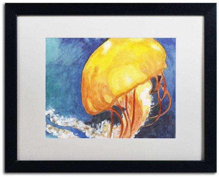 Trademark Fine Art Jelly Fish II Black Framed Wall Art | Jelly fish ...