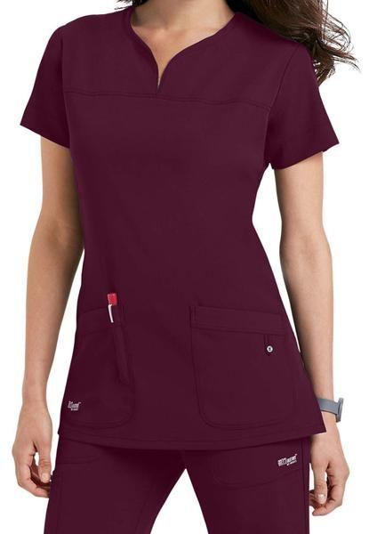 Grey 39 s anatomy signature 2 pocket notch yoke neck wine for Spa uniform patterns