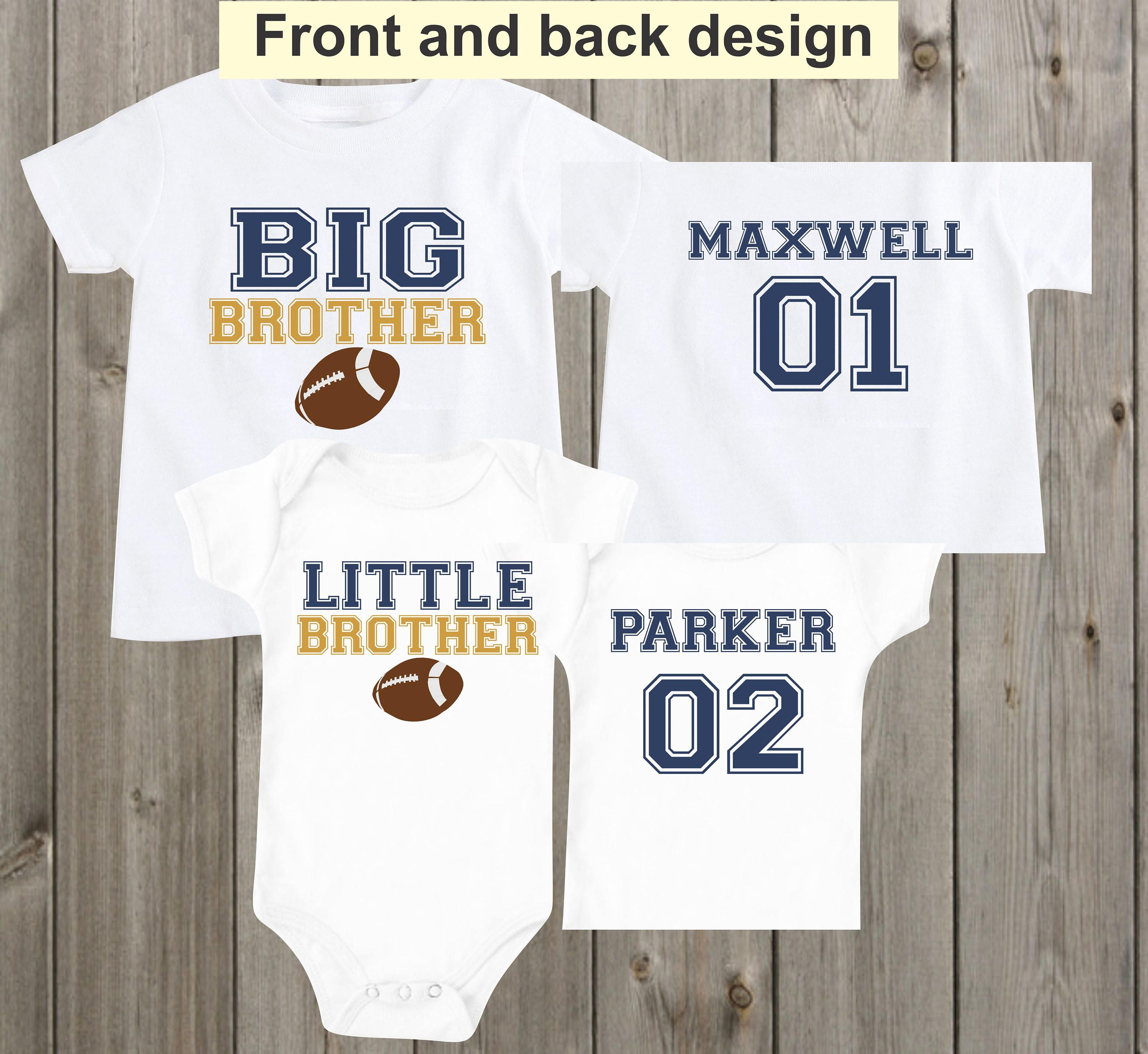 Big brother little brother Shirts Matching Football Sports Jersey Baby  Onesie Custom Personalized Boys Outfit Shirt Baby Shower Gift by  mkclassyprints on ... 27f72c1c4