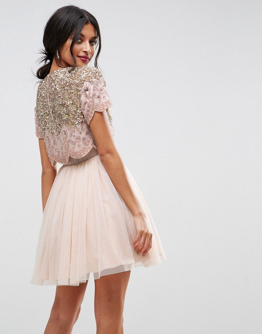 ASOS Heavily Embellished Tulle Mini Prom Dress - Beige  04acc63dace58