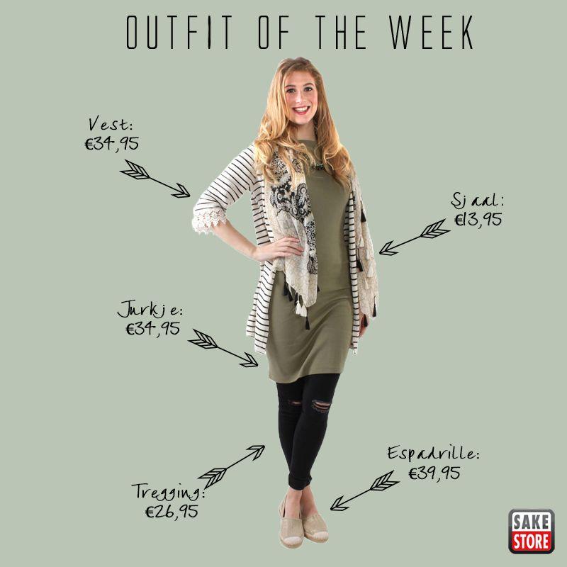 Deze week een outfit met armygreen en strepen. Een mooie midi jurk, gecombineerd met een gestreept vest en hippe kneecut tregging.  Helemaal jouw smaak? Bekijk hier de hele set: http://bit.ly/1XZUPfy