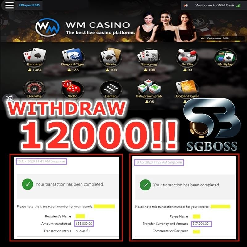 Sgboss Super Big Win Wm Casino Game Baccarat Withdrawal 12 000 Contact Us Whatsapp 6583606364 Casino Games Casino Baccarat