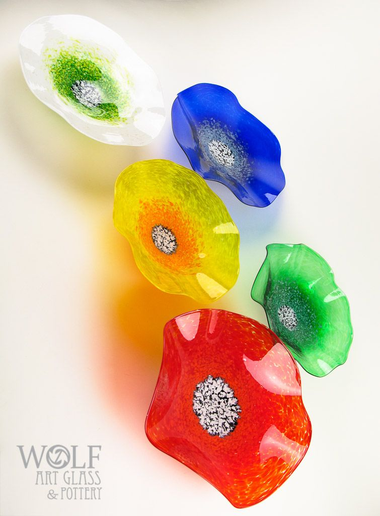 Bright Primary Colors Blown Glass Wall Art Poppy Flowers ...