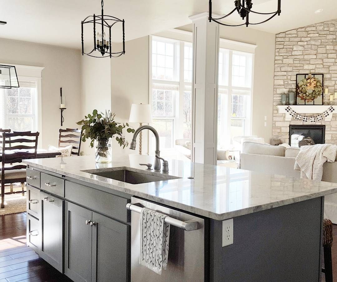 gray house white cottage kitchen island gray The island
